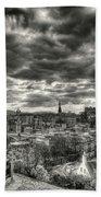 The Edinburgh Skyline, And Dugald Stewart Monument. Beach Towel