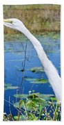 The Egret And The Dragonfly Beach Towel