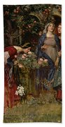 The Enchanted Garden Beach Towel by John William Waterhouse