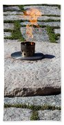 The Eternal Flame At President John F. Kennedy's Grave Beach Towel