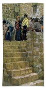 The Evil Counsel Of Caiaphas Beach Towel by Tissot