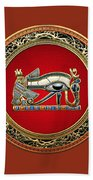The Eye Of Horus Beach Towel by Serge Averbukh