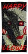 The Face Halloween Card Beach Towel