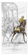 The Favorite - Thoroughbred Race Print Color Tinted Beach Sheet