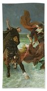 The Flight Of Gradlon Mawr Beach Towel by Evariste Vital Luminais