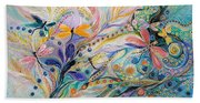 The Flowers And Dragonflies Beach Towel