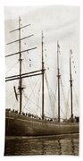 The Four-masted Barkentine  Jane Stanford Built By Hans Bendixse 1892 Beach Towel
