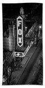 The Fox Thearter Bw Atlanta Night Art Beach Towel