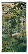 The Garden At Bellevue Beach Towel by Edouard Manet