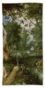 The Garden Of Eden With The Fall Of Man Beach Towel