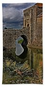 The Gatehouse And Moat At Leeds Castle Beach Towel