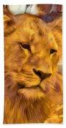 The Golden Lioness  Beach Towel