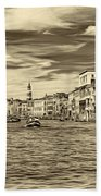 The Grand Canal - Paint Sepia Beach Towel