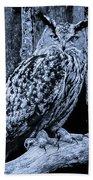 Majestic Great Horned Owl Bw Beach Towel