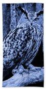 Majestic Great Horned Owl Blue Indigo Beach Towel