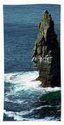 The Great Sea Stack Brananmore Cliffs Of Moher Ireland Beach Towel