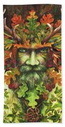 The Green Man Beach Towel by Peter Williams