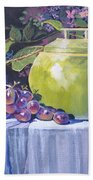 The Green Pot And Grapes Beach Towel