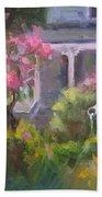 The Guardian - Plein Air Lilac Garden Beach Towel by Talya Johnson