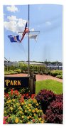 The Harbor Island Park In Mamarineck, Westchester County Beach Towel