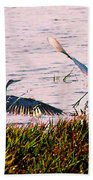 The Heron And The Egret Beach Towel