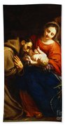 The Holy Family With Saint Francis Beach Towel by Jacob van Oost