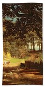 The House In The Woods Beach Towel by Albert Bierstadt