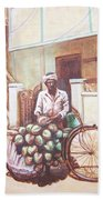 The Indian Tendor-coconut Vendor Beach Towel