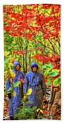The Joys Of Autumn Camping - Paint Beach Towel