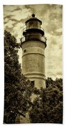 The Key West Lighthouse In Sepia Beach Towel