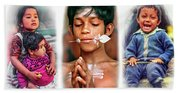 The Kids Of India Triptych Beach Towel