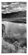 The Lake In Black And White Beach Towel