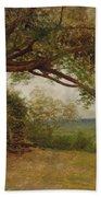 The Landing Of Columbus Beach Towel by Albert Bierstadt