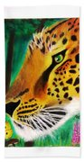 The Leopard And The Butterfly Beach Towel