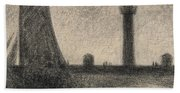 The Lighthouse At Honfleur Beach Towel