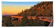 The Linn Cove Viaduct At Sunrise Beach Towel