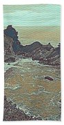 The Lone Waterfal By The Hidden Cove Beach Towel