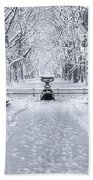 The Mall In Snow Central Park Beach Towel