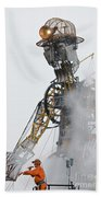 The Man Engine And His Man Beach Towel