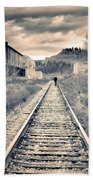 The Man On The Tracks Beach Towel