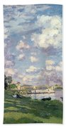 The Marina At Argenteuil Beach Towel by Claude Monet