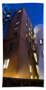 The Mit Stata Center At Night Kendall Square Cambirdge Ma Moon Front Beach Towel