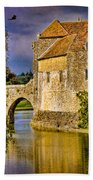 The Moat At Leeds Castle Beach Towel