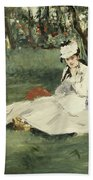 The Monet Family In Their Garden At Argenteuil Beach Towel