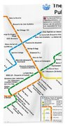 The Montreal Pubway Map Beach Towel
