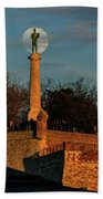 The Moon Rising Behind The Victor Statue In Belgrade In The Golden Hour Beach Towel