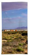 The Morning Train By Route 66 Beach Towel