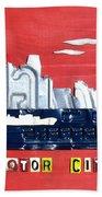 The Motor City - Detroit Michigan Skyline License Plate Art By Design Turnpike Beach Towel