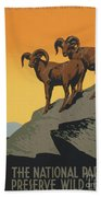 The National Parks Preserve Wild Life Vintage Travel Poster Beach Towel
