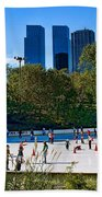 The New York Central Park Ice Rink  Beach Towel